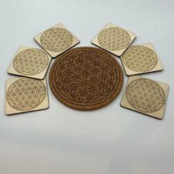 Untersetzer Set quadratisch mit Blume des Lebens Gravur